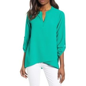 Gibson Erin Crossover Tunic Blouse SM Green LQ143
